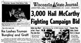 Wisconsin State Journal front page — Sep 4, 1952